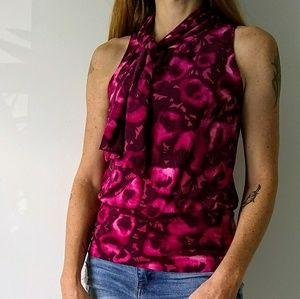 Express Pink Floral Sleeveless Blouse